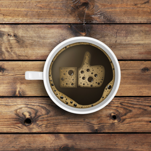 Facebook Like in coffee timber background