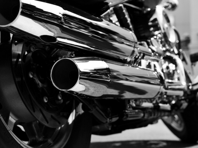 Black and White Motorcycle exhaust